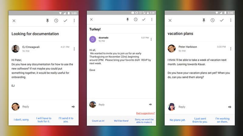 Inbox by Gmail Adds Smart Replies That Predict What You're Going to Say