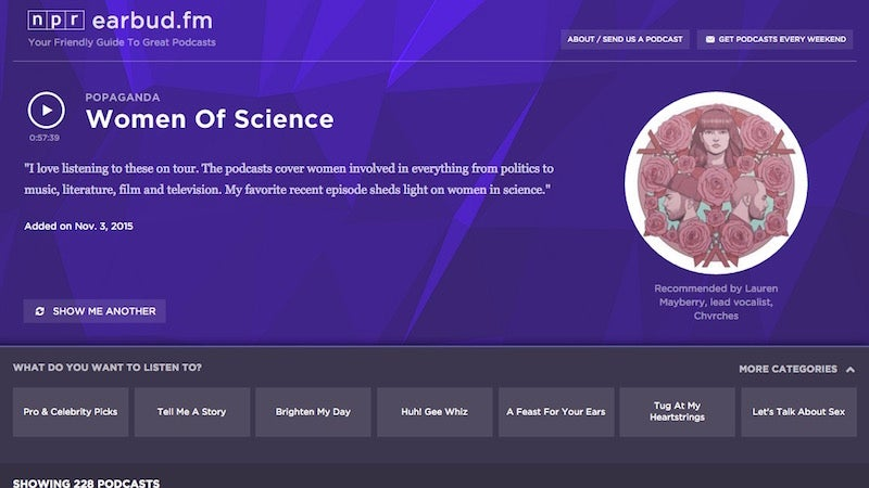 Earbud.fm Is a Curated List of the Best Podcasts Episodes On a Variety of Topics