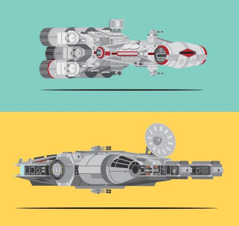 All the awesome spaceships and vehicles of Star Wars in one cool graphic