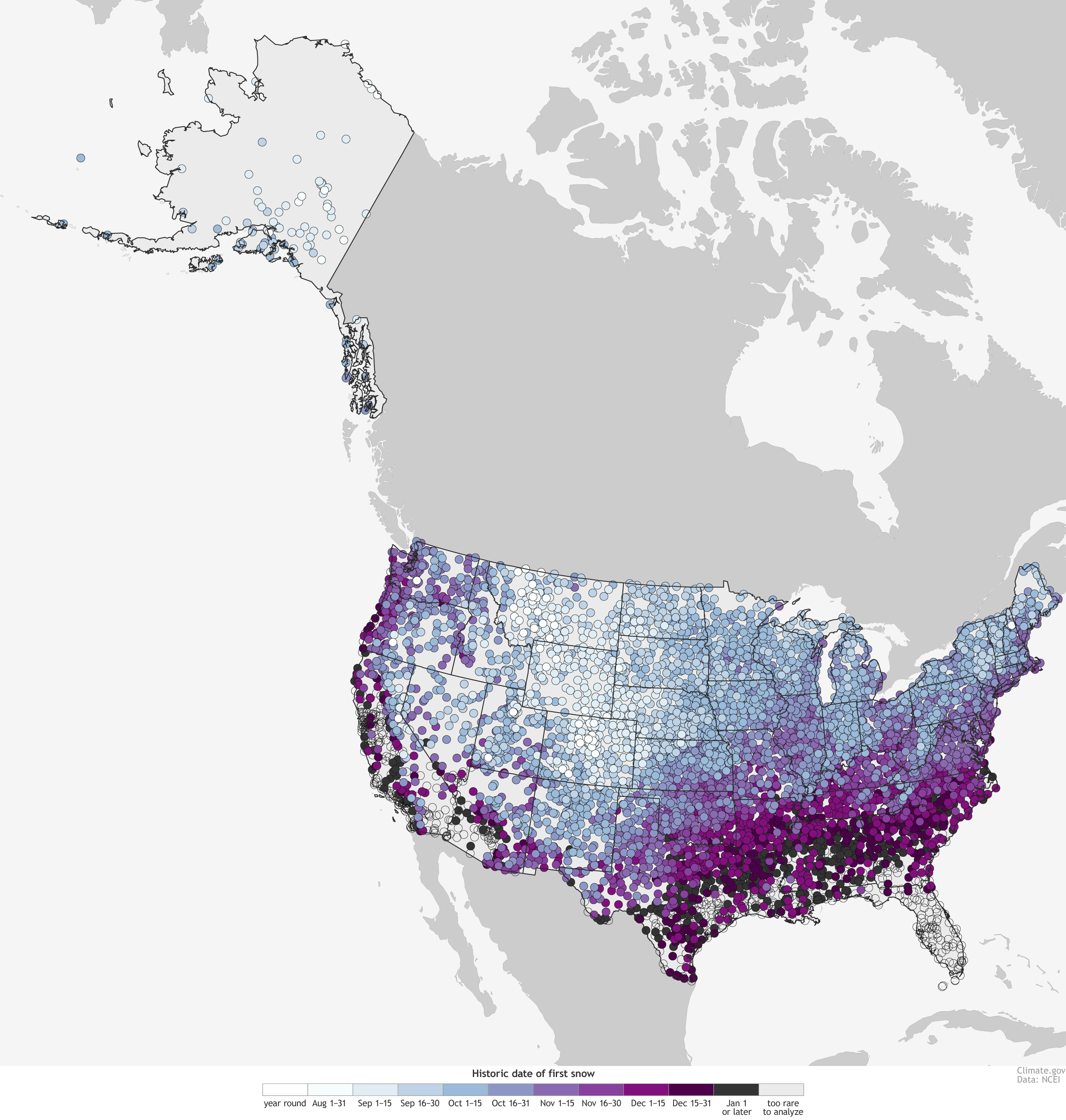 Look On This Map of First Snowfalls Across America, Ye Mighty, and Despair