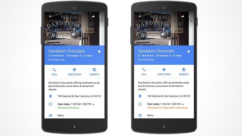 Google Adds Business Holiday Hours to Maps and Search