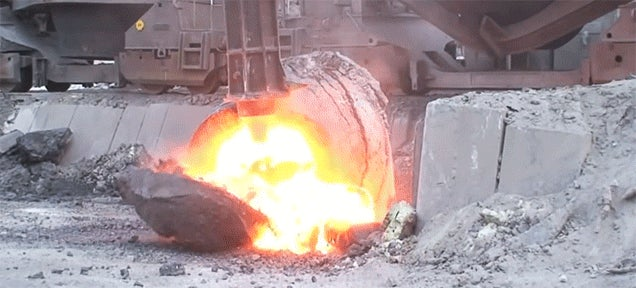 Crushing and breaking open a slag pot skull basically unleashes hell fire