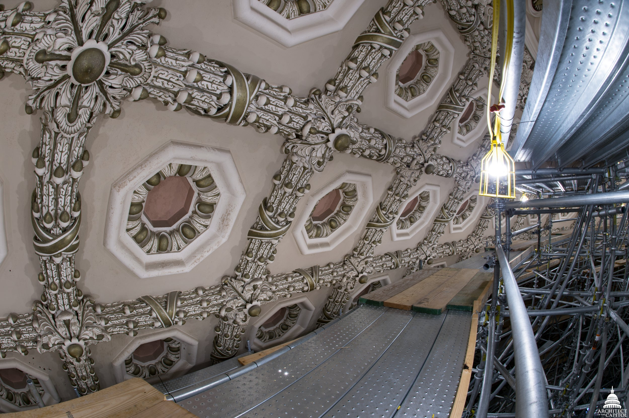 Building Scaffold Inside the Capitol Rotunda Is a Work of Art Itself