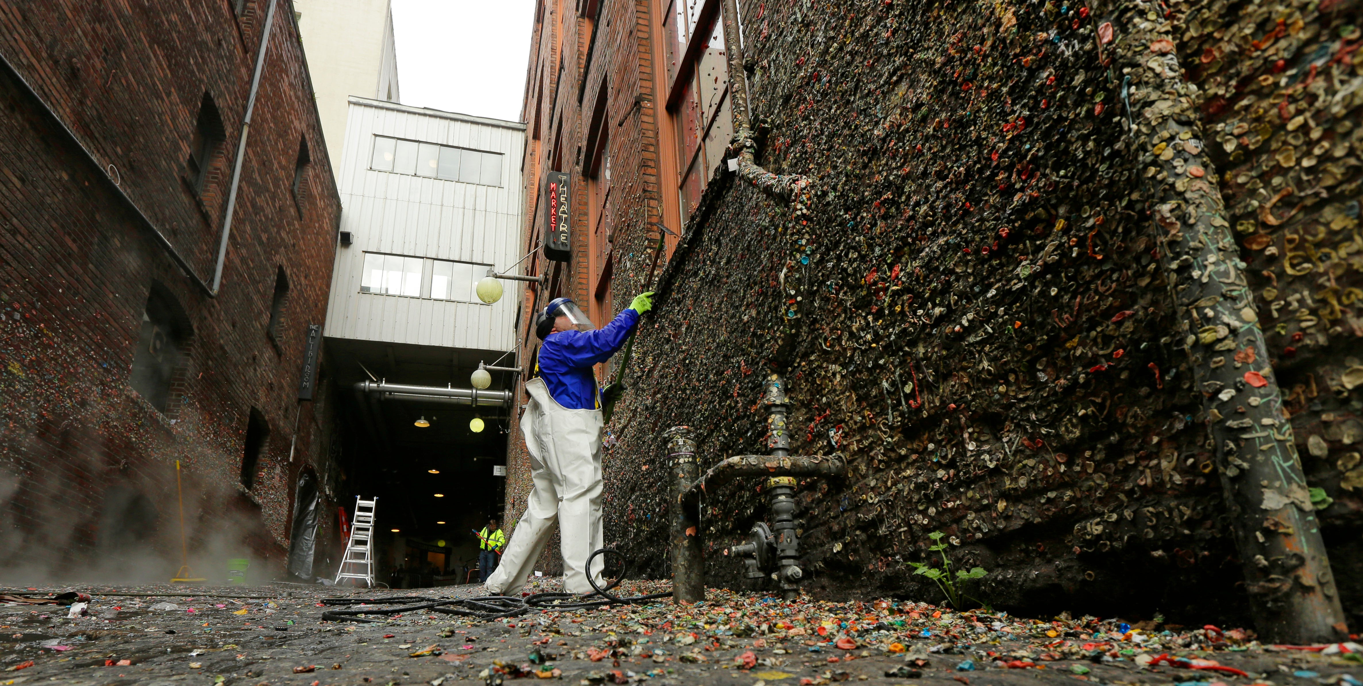 Seattle's Famous Gum Wall Is Being Scrubbed Away to Bare Brick