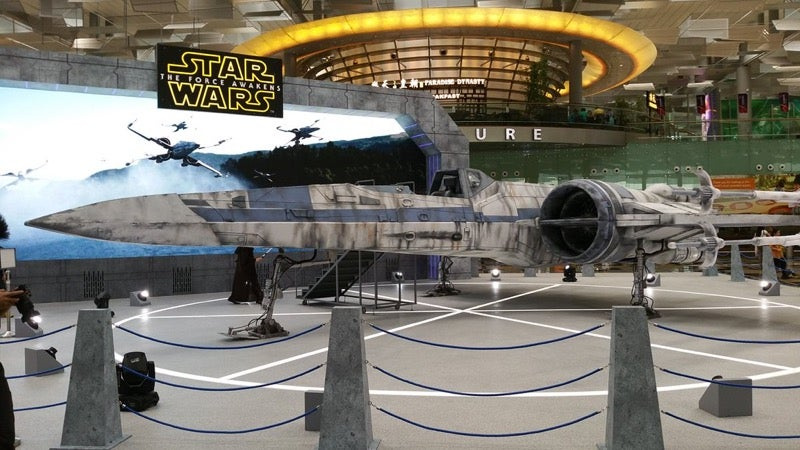 Life-Sized X-Wing Is Parked at a Singapore Airport