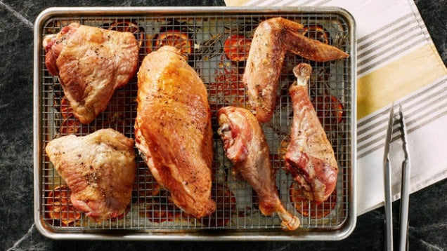 Roast Whole Chickens Or Turkeys In An Hour By Cutting Them Up First
