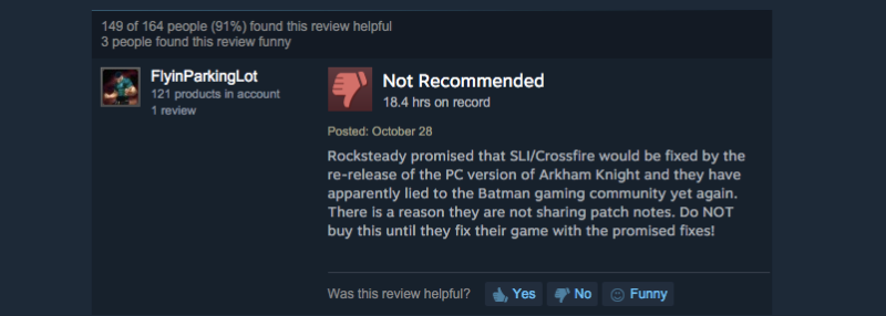 Arkham Knight's Steam Reviews Are Getting Flagged As 'Pre-Release' ... Again (UPDATE)