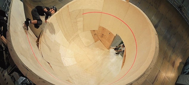 Witness the first horizontal spiral loop ever done on a skateboard