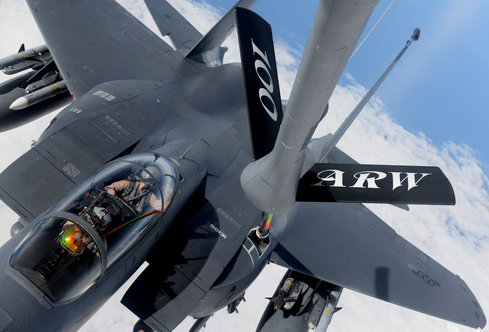 Awesome Photo Of A F-15 Being Refueled From The Air Fuel Tankers Perspective