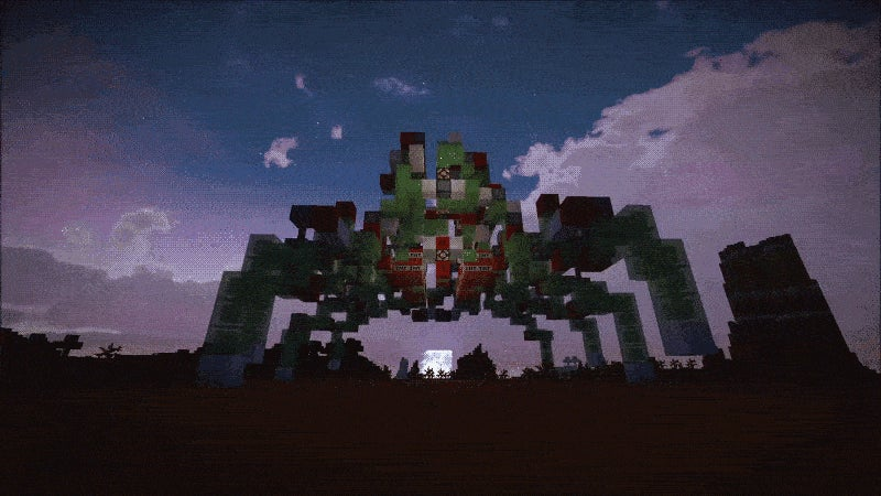A Minecraft Spider Mech, Crawling Under the Night Sky