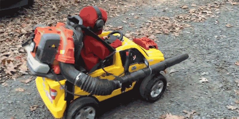 Strapping a Leaf Blower To Your Kid's Power Wheels Is Yard Work Done Right