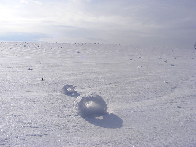 These bizarre snow rolls were actually created by the wind