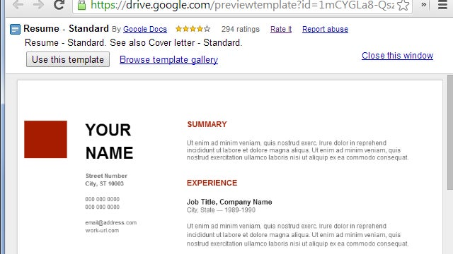 google template resumes