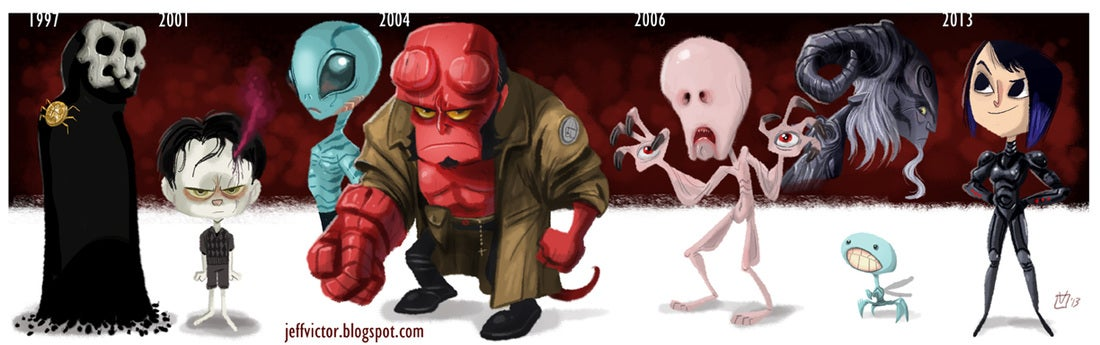 Cool cartoons show the evolution of famous characters and actors