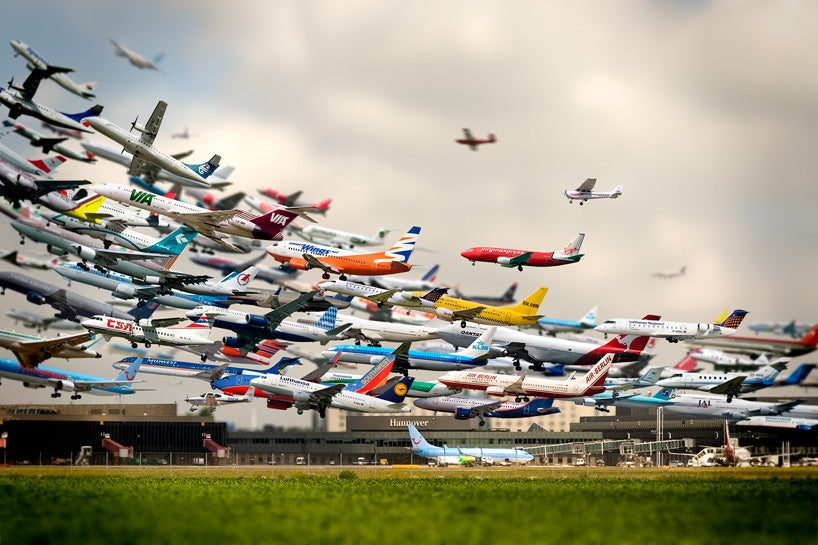 This image shows 8 hours of airliners departing from Los Angeles