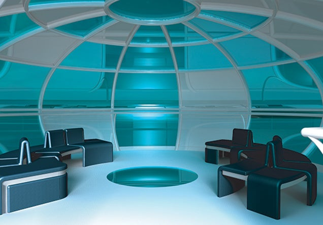 This rotating flying saucer could be a pretty fun place for a party