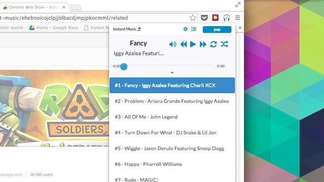Instant Music Plays Popular Songs from Chrome's Toolbar