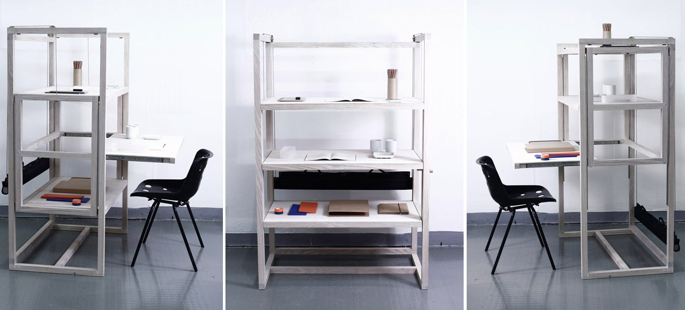 The Perfect Family Work Surface: Three Desks, One Shelving Unit