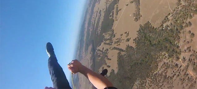 Skydiver saves himself seconds before impact after terrifying fall