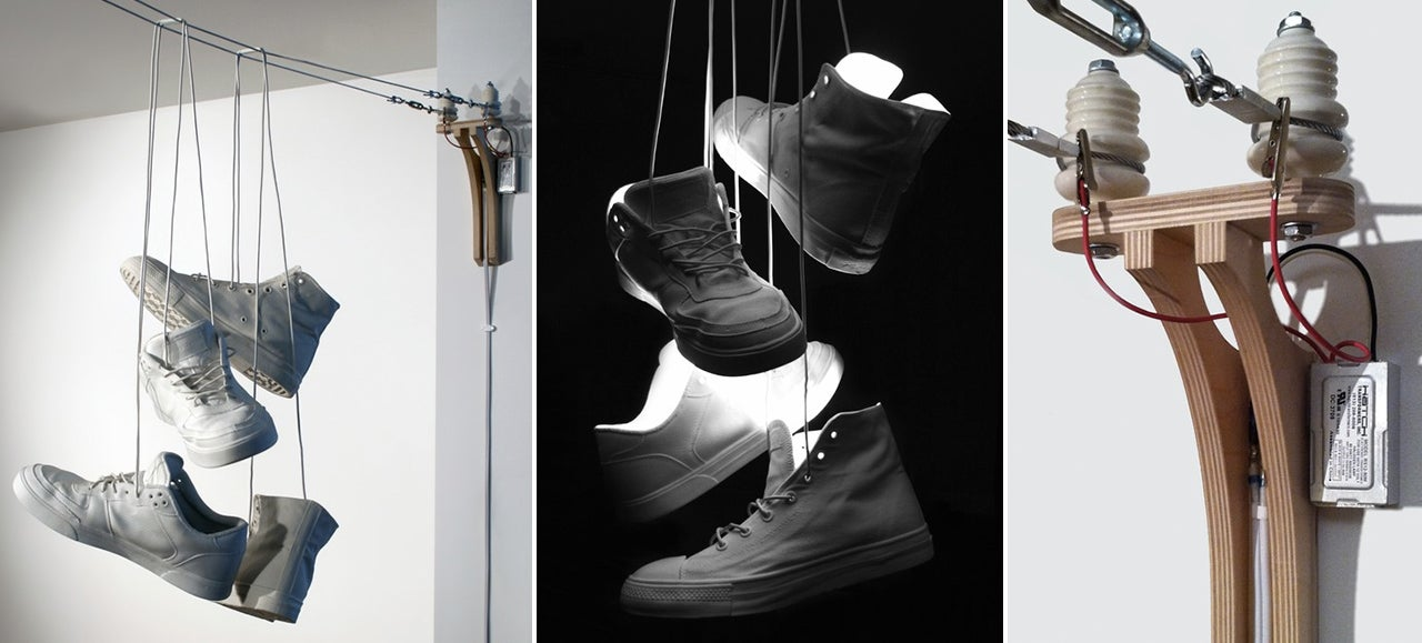 A Lamp That Looks Exactly Like Sneakers Tossed Over Power Lines