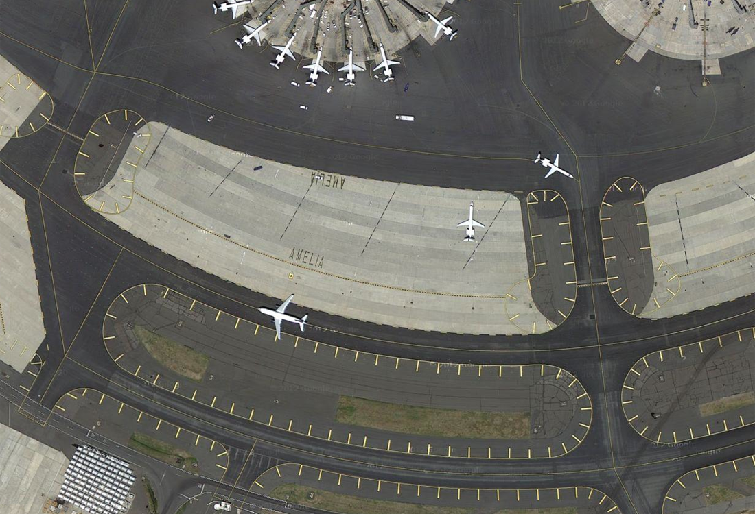 Satellite pictures of airports reveal their amazing complexity