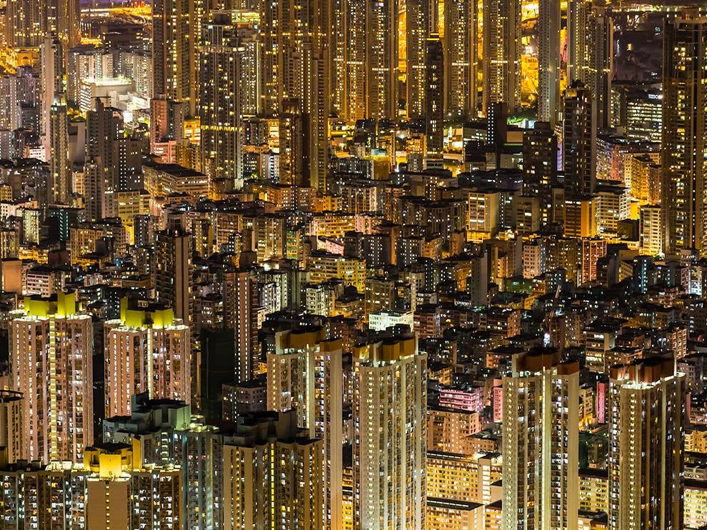 I don't know where buildings start or end in this crazy Hong Kong photo