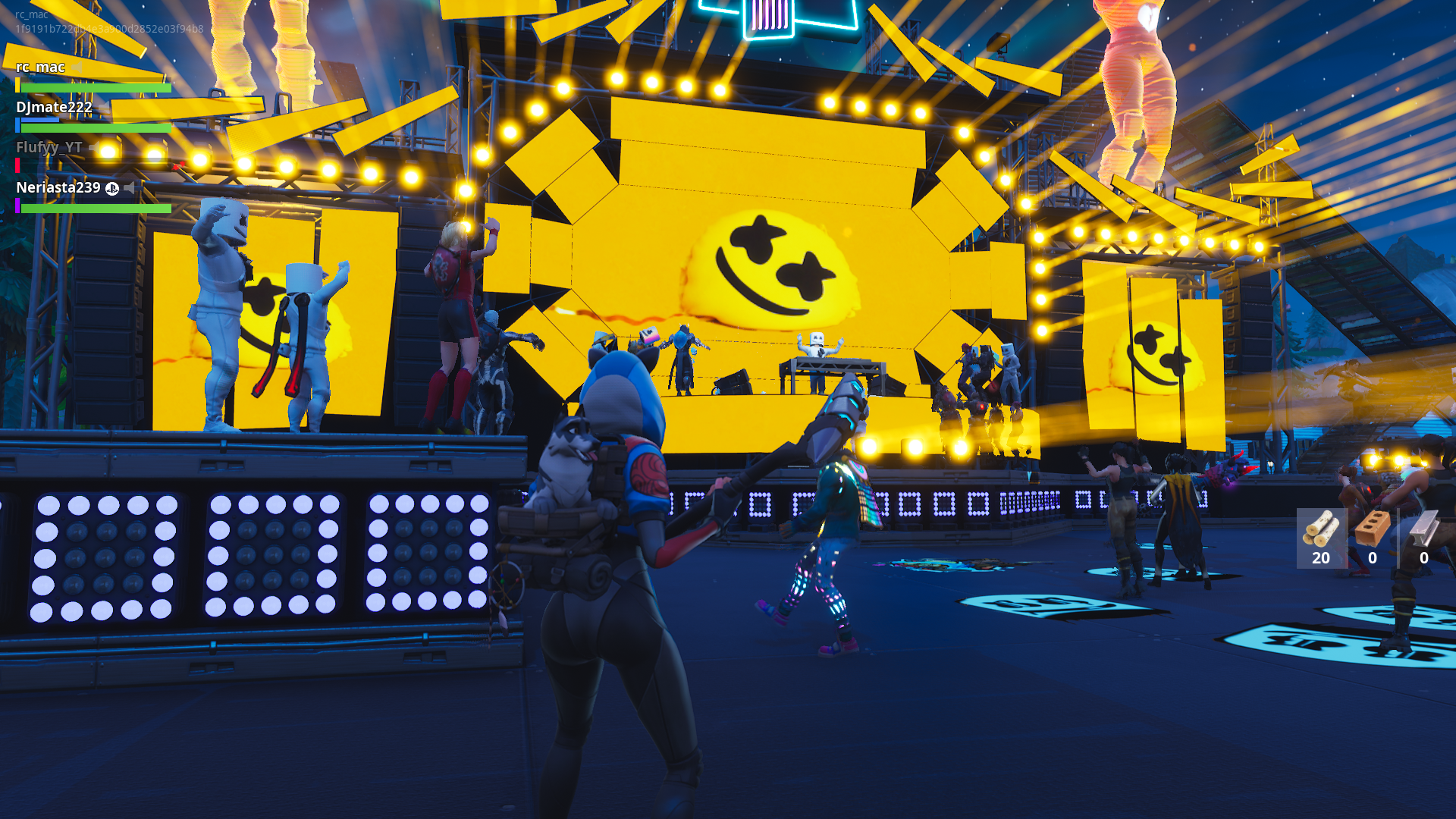 a glowing yellow light appeared on the stage and eventually marshmello blipped in behind his turntables this was anti climactic fortnite has released - fortnite concert