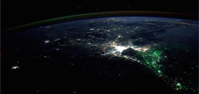 What is the massive green oceanic glow that surrounds Bangkok at night?
