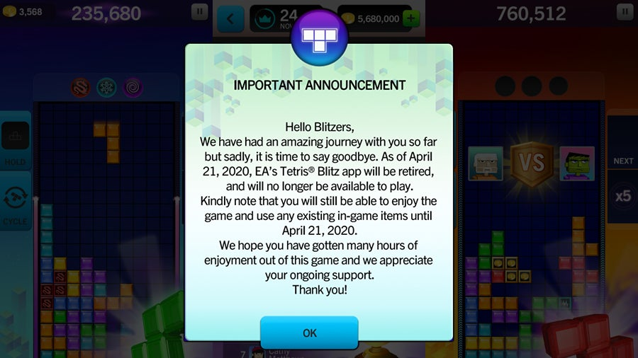 You Soon Won't Be Able To Play EA's Official Tetris Game On Your iPhone