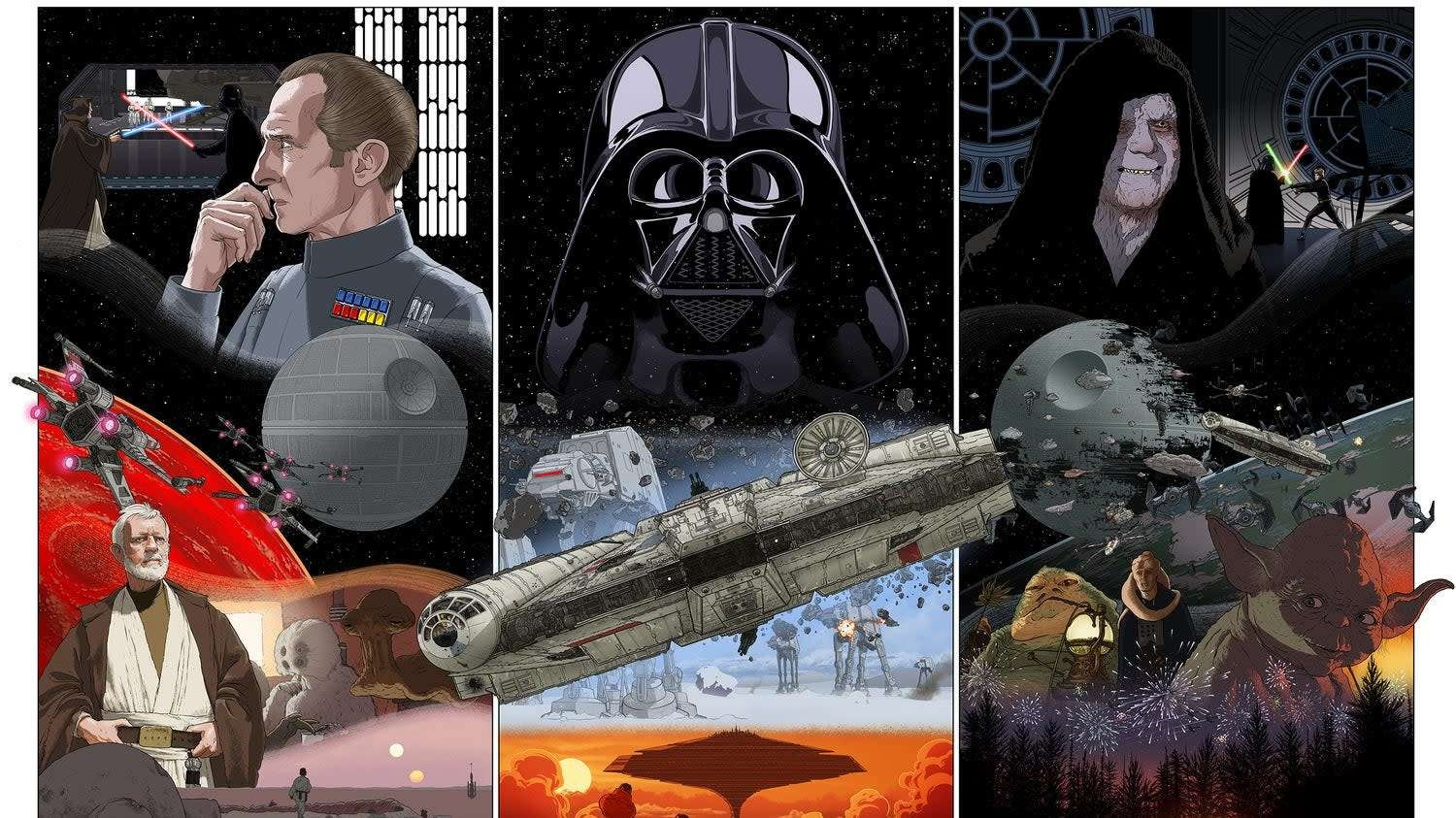 This Sweet Triptych Poster Commemorates The Birth Of The Skywalker Saga Just In Time For Its End