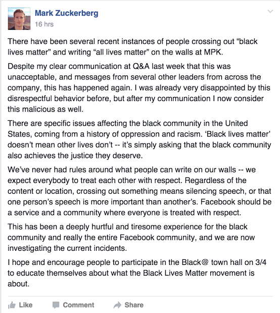 Mark Zuckerberg Asks Racist Facebook Employees to Stop Crossing Out Black Lives Matter Slogans