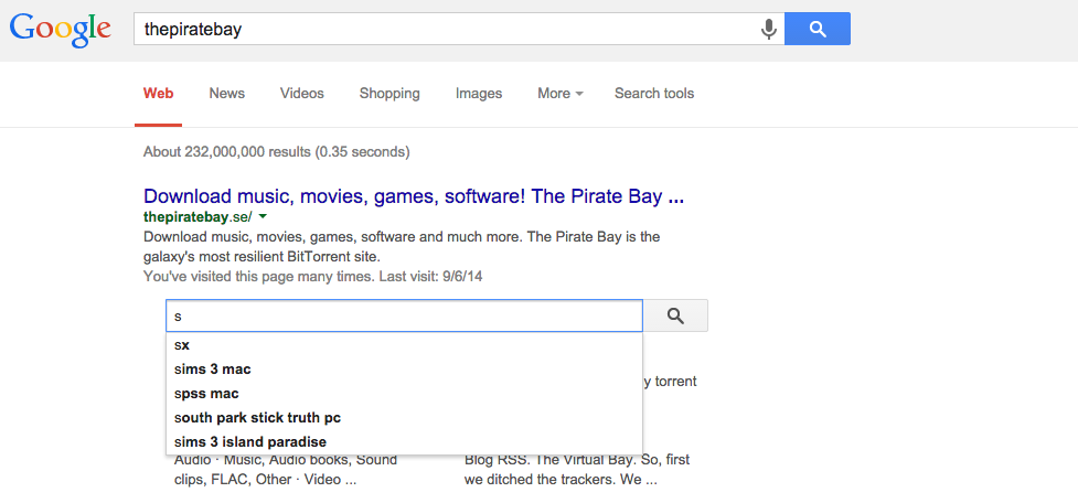 Google Has a Custom Search Just for the Pirate Bay