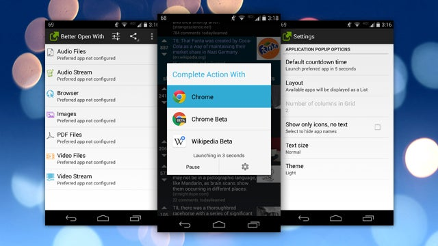 Better Open With Improves Android's App Chooser with Delayed Defaults