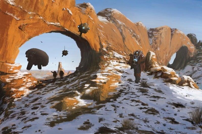 On A Distant Planet, A Survey Team Studies The Strange Terrain