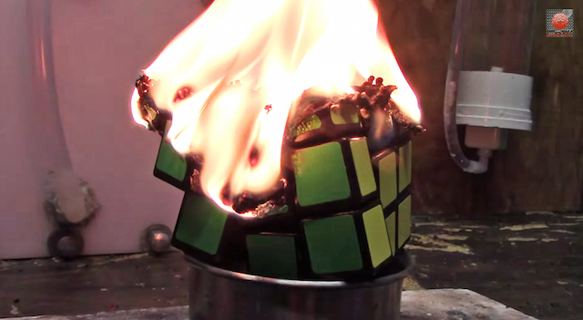 The Fastest Way To Solve A Rubik's Cube Is To Set It On Fire