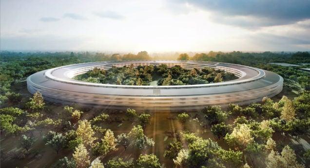 Take a Birds-Eye Tour of Apple's Huge Spaceship Campus