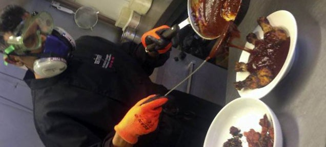 This sauce is so hot that the cook has to wear a gas mask