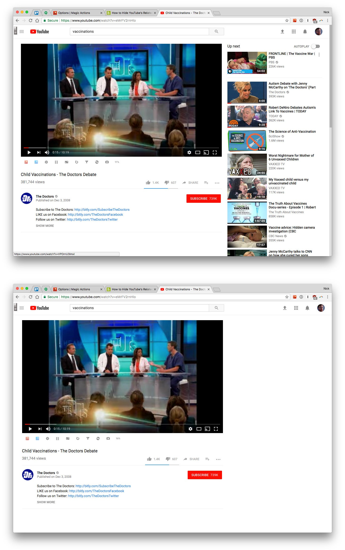 On The Options Page Check Hide Page Elements And Then Related Videos Magic Actions Also Lets You Hide Comments And Auto Expand Videos To Full Width