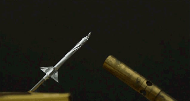 Matchstick Rockets Captured at 2,500 fps Look Like Tiny ICBMs