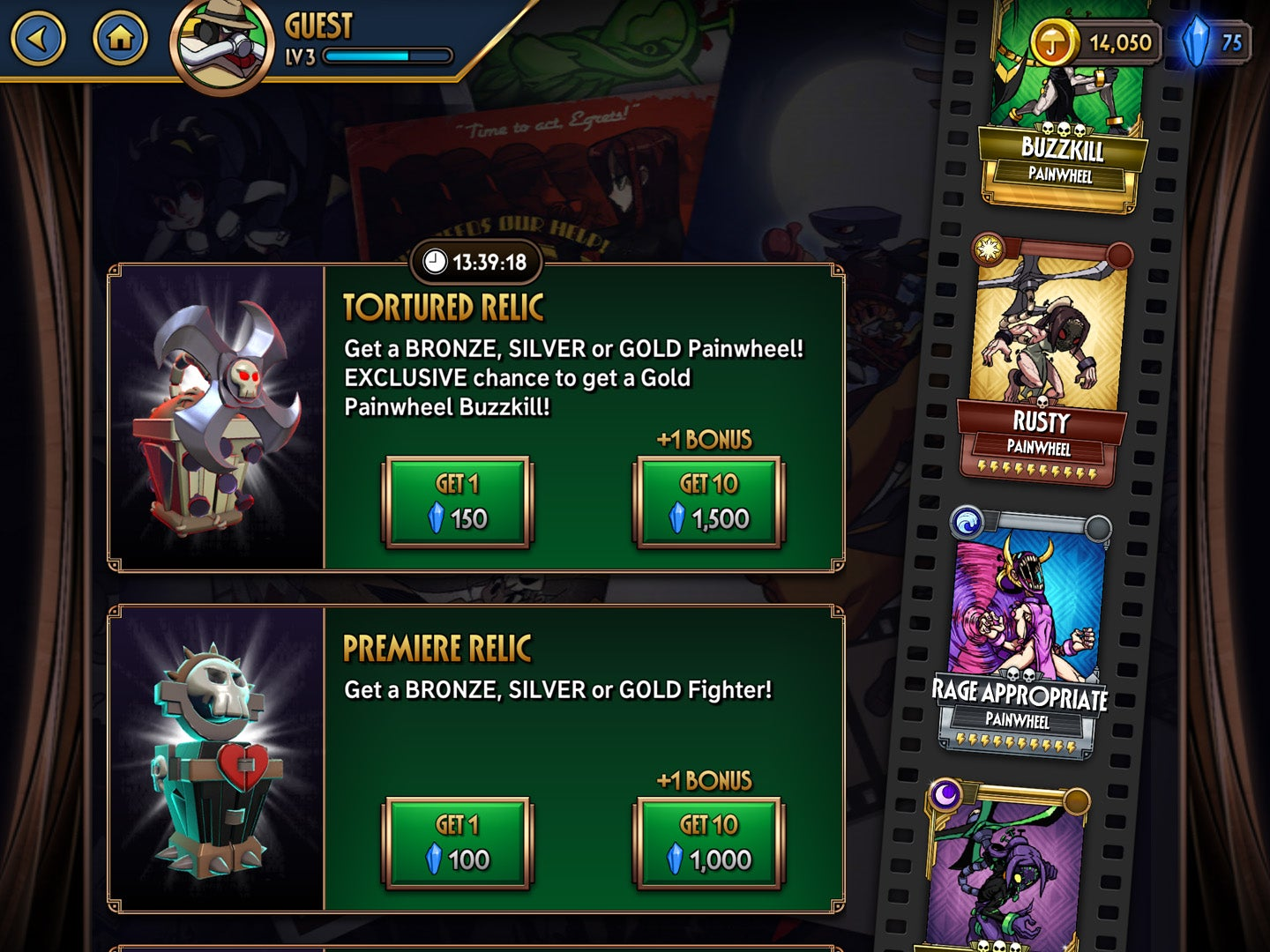 Players spend gems to score random Skullgirls characters from gatcha-style  loot relics. Special moves for each character are collected in the same  fashion.