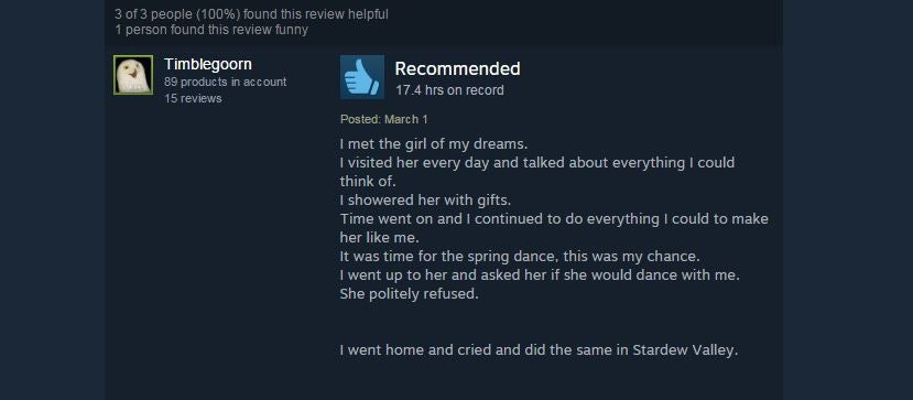 Stardew Valley, As Told By Steam Reviews