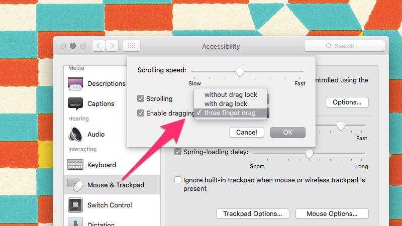 Enable the Three-Finger Drag Gesture in El Capitan Under Accessibility Options