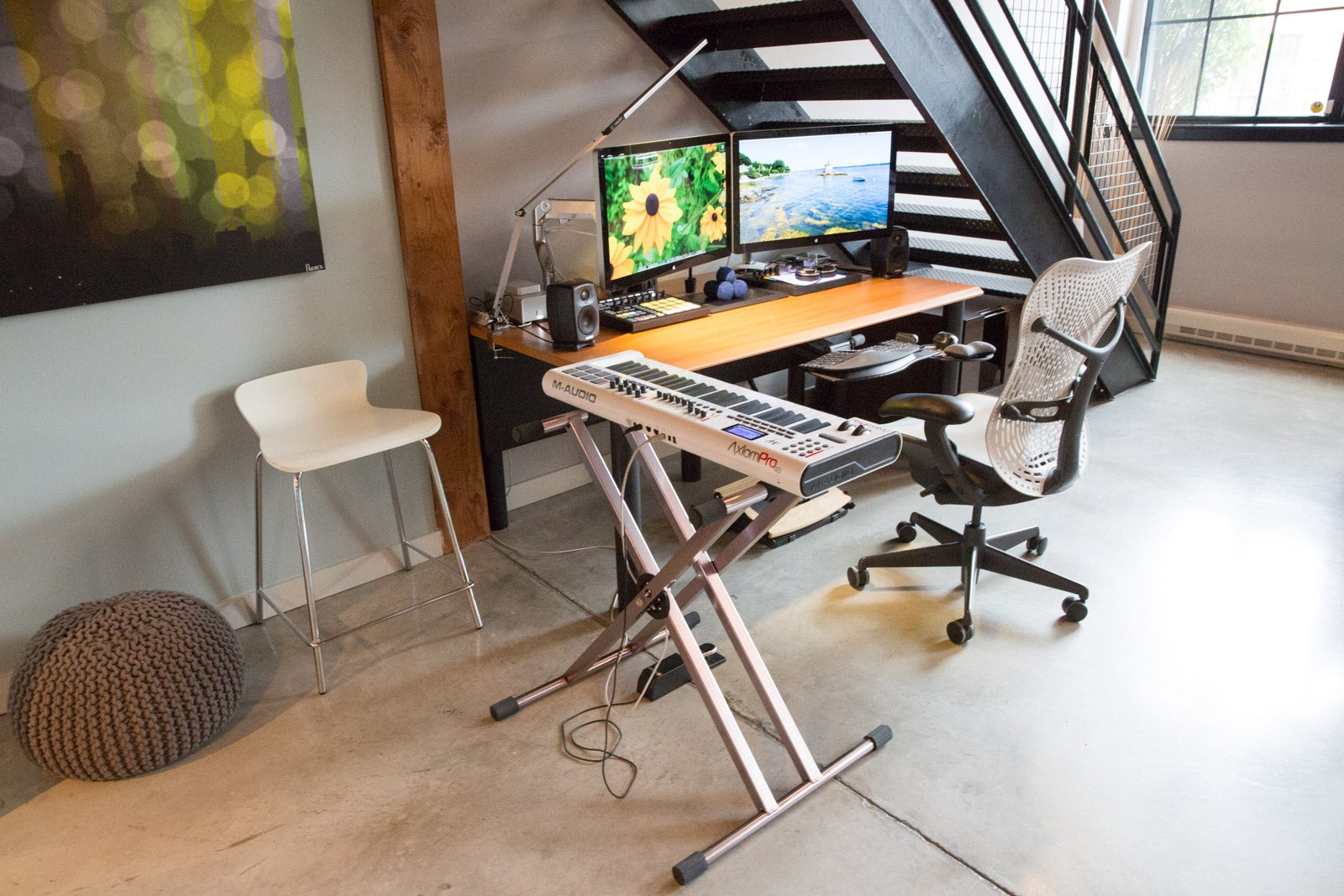 The Dual Display Workspace Under the Stairs
