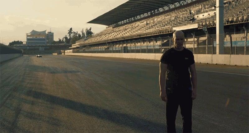 Watch Fearless Stuntman Do a Blind Backflip Over a Speeding Race Car