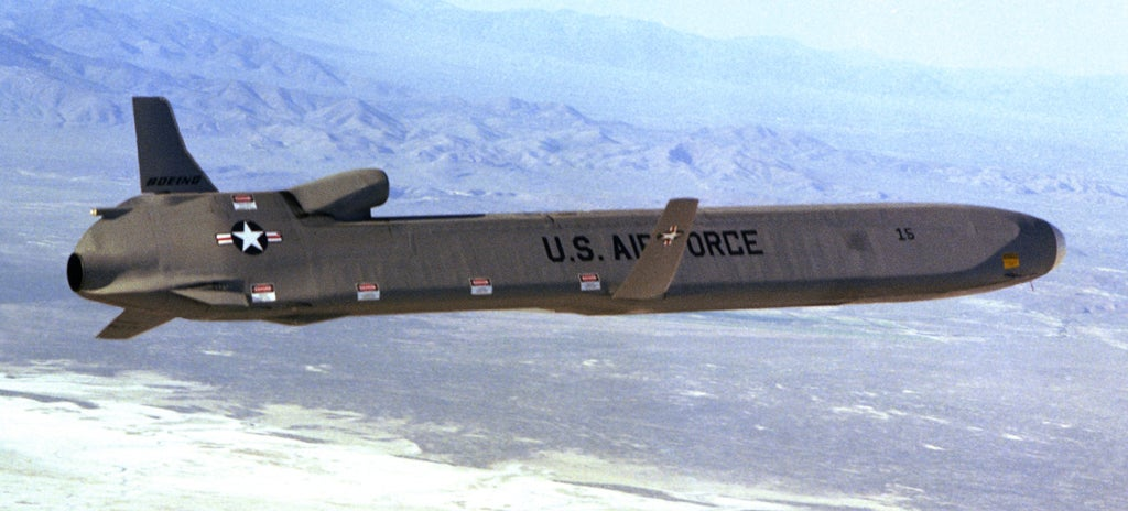 This is how they load nuclear cruise missiles on a B-52 Stratofortress