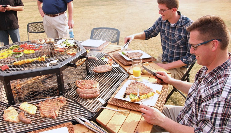 Everyone's the Grillmaster At this BBQ Picnic Table