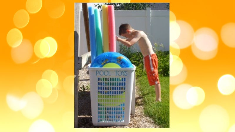 Organise Large Pool Toys With A Plastic Hamper