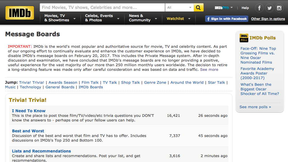 IMDB Kills Its Message Boards And Nothing Of Value Was Lost