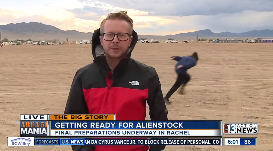 Person Naruto Runs Through 'Storm Area 51' Newscast