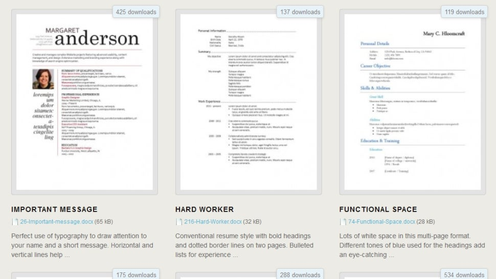 resume templates microsoft word 2010 free download